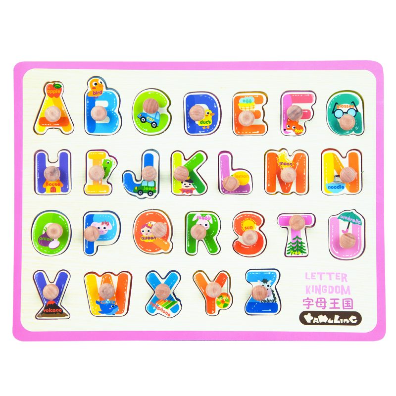 26 Pecies Puzzles New Children Baby Wooden Alphabet ...