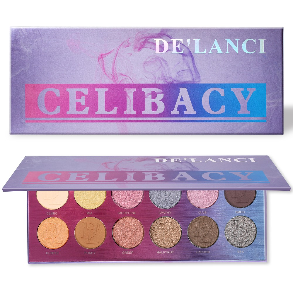 DE'LANCI Eyeshadow Pallete 12 Color Nude Matte Shimmer Eye shadow Pigment Makeup Palette Maquiagem Profissional Completa eyeshadow palette make up palette shimmer nature glow 12 color eye shadow set cosmetics sombra maquiagem profissional completa