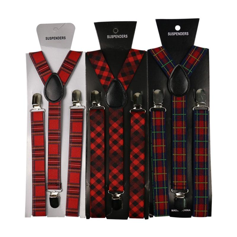 Winfox Vintage Elastic 2.5 Cm Braces Plaid Suspender  Women Men Suspenders Pants