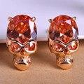 Blucome sexy brown strass brincos banhado a ouro ear acessórios esqueleto do crânio do parafuso prisioneiro brinco brincos moda jóias para a mulher