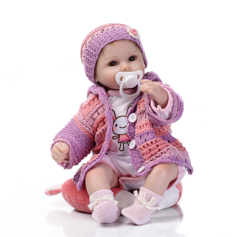 Full Body Reborn Baby Doll 16 Inch Handmade Newborn With Knitted Rooted Hair Silicone Vinyl Clothes Lifelike handmade reborn baby doll clothes suit for 10 inch to 12 inch baby doll