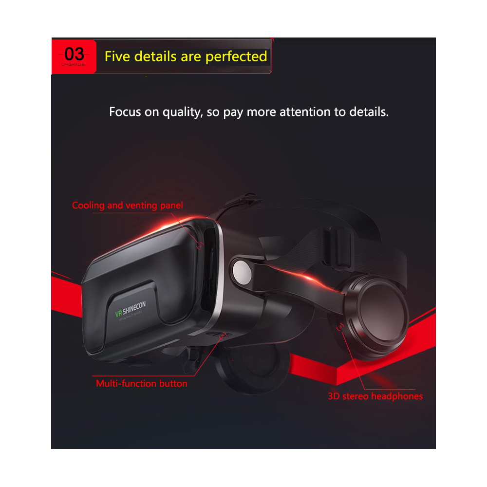 cardboard style vr shinecon pro 3d glasses with wireless remote control gamepad