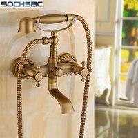 BOCHSBC עגול טלפון מקלחת פליז עתיק נחושת ראש מקלחת חדר רחצה סט עם ברז/מעלית ראש מקלחת חיסכון במים