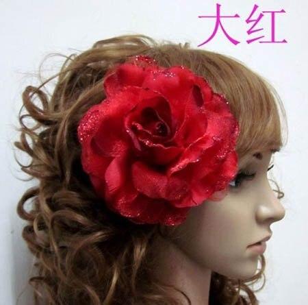 big artificial rose hair flowers dress