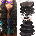 8A Brazilian Virgin Hair With Closure 4pcs lot 13x4 Ear to Ear Lace Frontal Closure With Bundles Ali moda Brazilian Body Wave