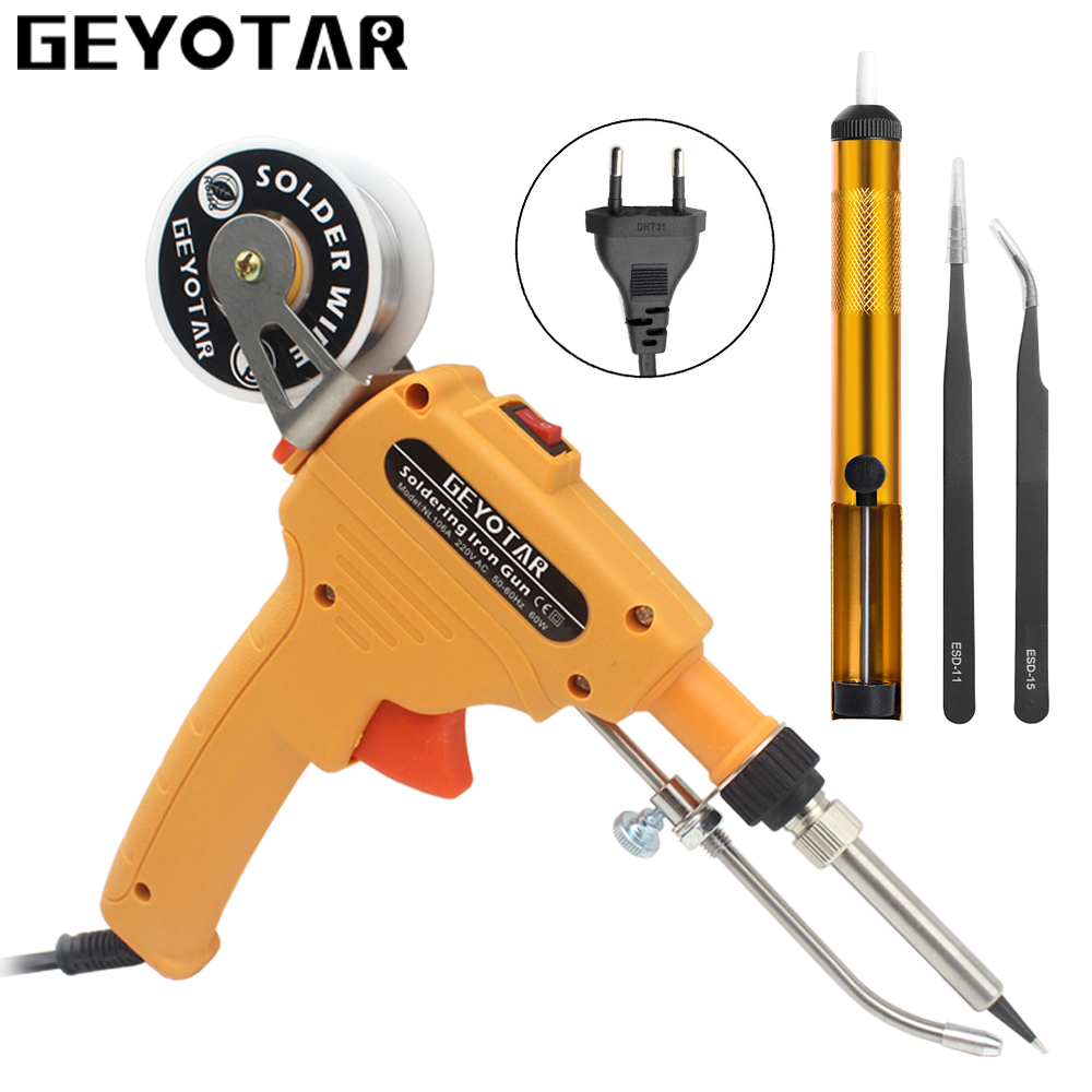 GEYOTAR 220V 60W Automatisk skicka tenn Elektrisk lödkolvpistol Handsvetsverktyg med lödtråd lödpistol EU-plugg