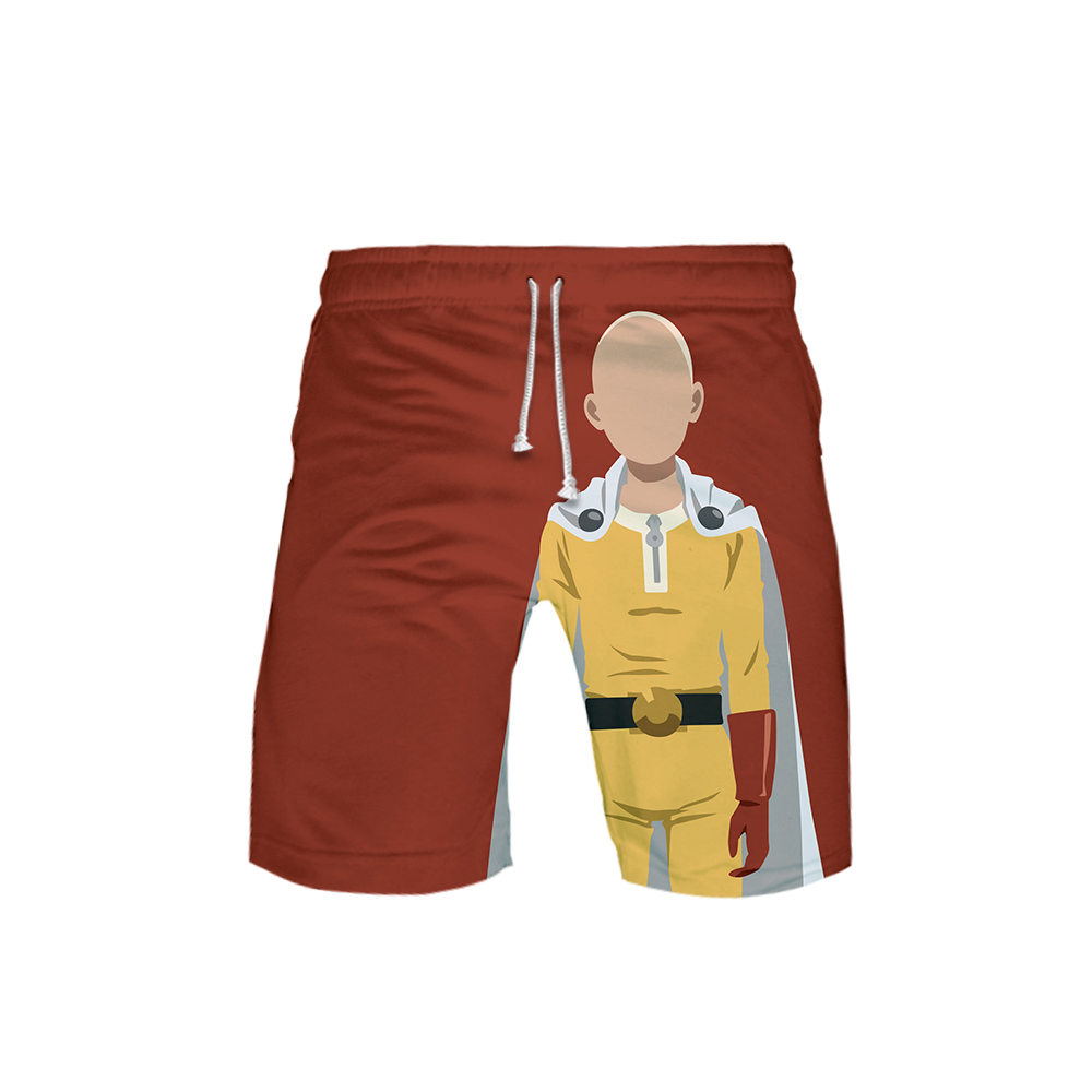 Red One Punch Man front Shorts Saitama no face