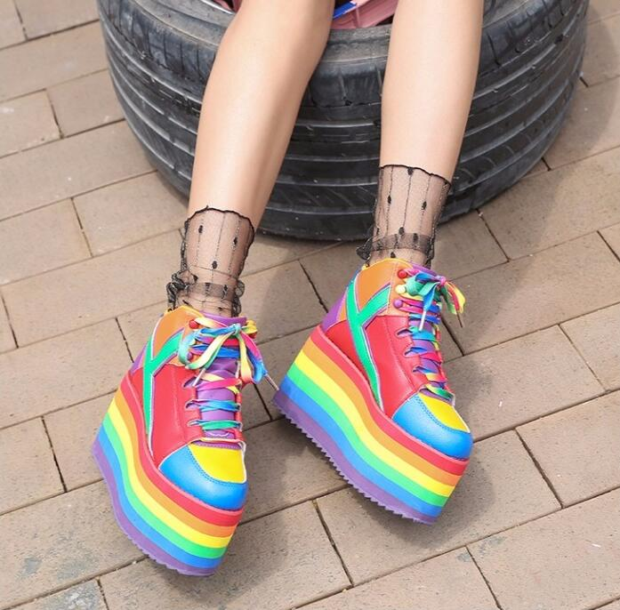 New Arrivals Height Increasing Woman Lace up Casual Shoes 2018 Rainbow Candy Colors Thick Platform Pumps Sexy Girls Shoes in Women 39 s Pumps from Shoes