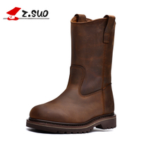 Winter Mid Calf Ladies Boots Genuine Leather Rubber High Women's Motorcycle Boots Brown Cow Leather Large Size Women Shoes 41 42