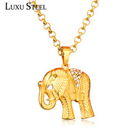 LUXUSTEEL Stainless Steel Trendy Cool Elephant Pendants For Men S Gift Wholesale Gold Plated Choker Chain