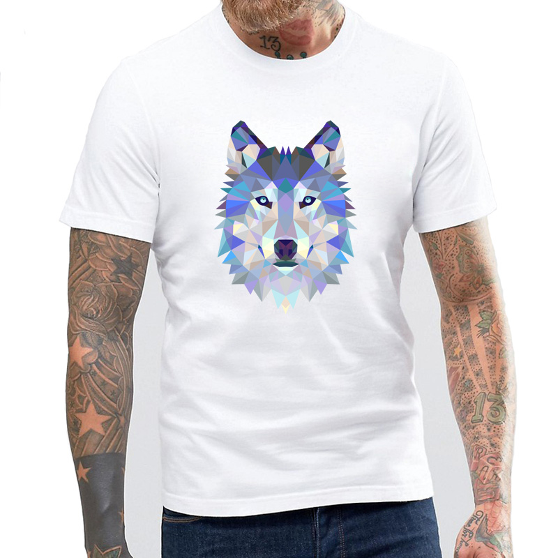 Creative Triangle Animal Design Tiger Lion Bear Wolf Rabbit Dog Gorilla Cow Panda Eagle T Shirt For Men Colorful Fitness Tshirt