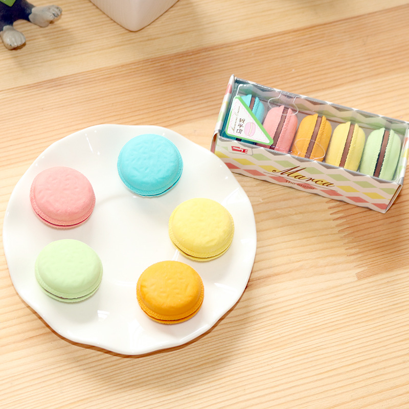 50pcs Kawaii Eraser Cute Macaroon Erasers For Kids School Student Pencil Rubber Eraser Stationary Supplies Gift Items Goma Bulk