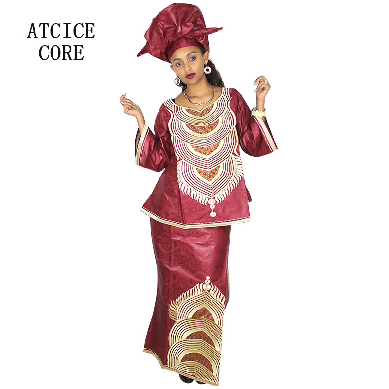 African Dresses For Women Free Shipping New Fashion Design African Bazin Riche Embroidery Short Rapper Fine Quality