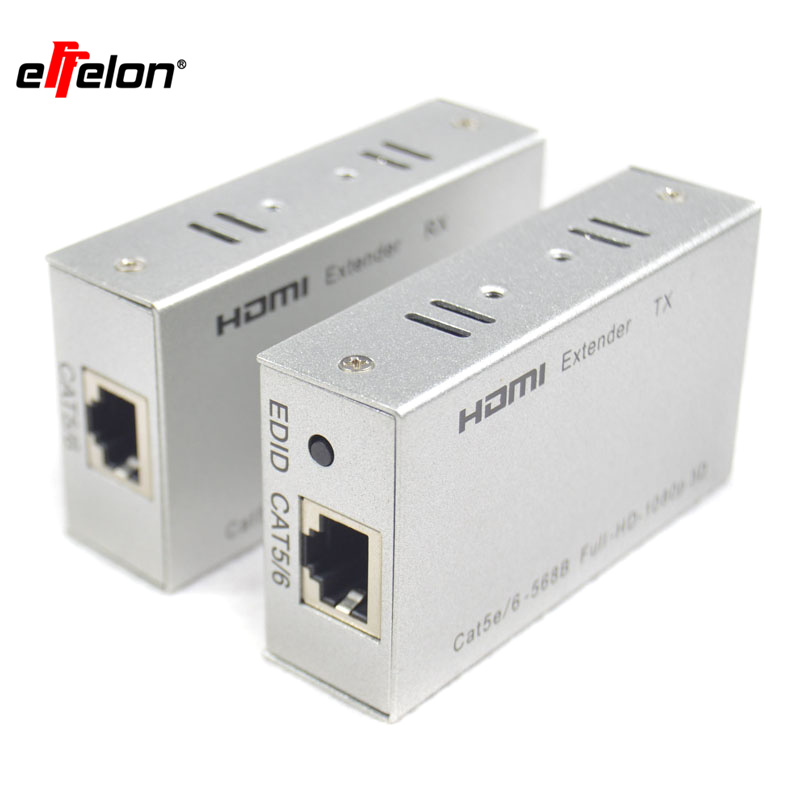 Effelon 60M/196ft 1080P HDMI Extender HDMI Transmitter Receiver over Cat 5e/6 RJ45 Ethernet Converter 1080P with power adapter 80 channels hdmi to dvb t modulator hdmi extender over coaxial