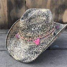 Женская Соломенная полая ковбойская шляпа в западном стиле, элегантная дамская шляпа с кисточками Sombrero Hombre, шляпа-чародей, Солнцезащитная шляпа в ковбойском стиле