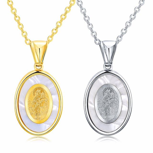 Gold silver religious mother maria necklace stainless steel prayer gold silver religious mother maria necklace stainless steel prayer virgin mary pendant necklace for catholic aloadofball Image collections