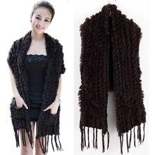 68b73aca06 Women Real Rabbit Fur Knitted Coat Knit Fur Cape Vest Gilet Tassels with  Pocket Women s Winter