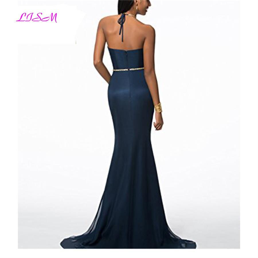 Robe De Soiree 2019 New Arrivals Evening Dresses Halter Mermaid Formal Gowns Bead Sweep Train Prom Party Dress vestido elegante