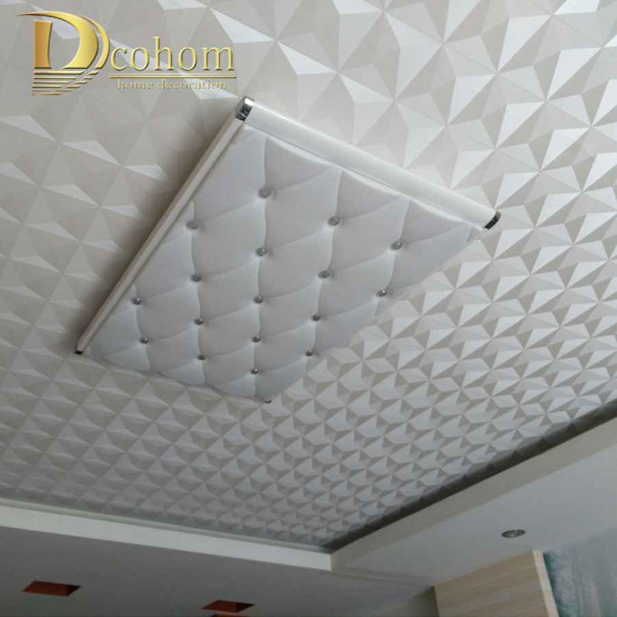 Vinyl Ceiling Wall Paper 3D Stereo White Diamond PVC Wallpaper Living Room Bedroom Decor Geometric Wallpaper Roll