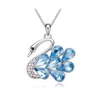 Heezen Luxury Blue Fuchsia Color Swan Necklaces & Pendants Fashion Jewelry Crystal Pendant Elegant Women Statement Necklace New