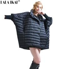 2018 LALA IKAI Winter White Duck Down Jacket Grande Formato Femminile Cappotto  Del Collare Del Basamento 8a1a35b29383