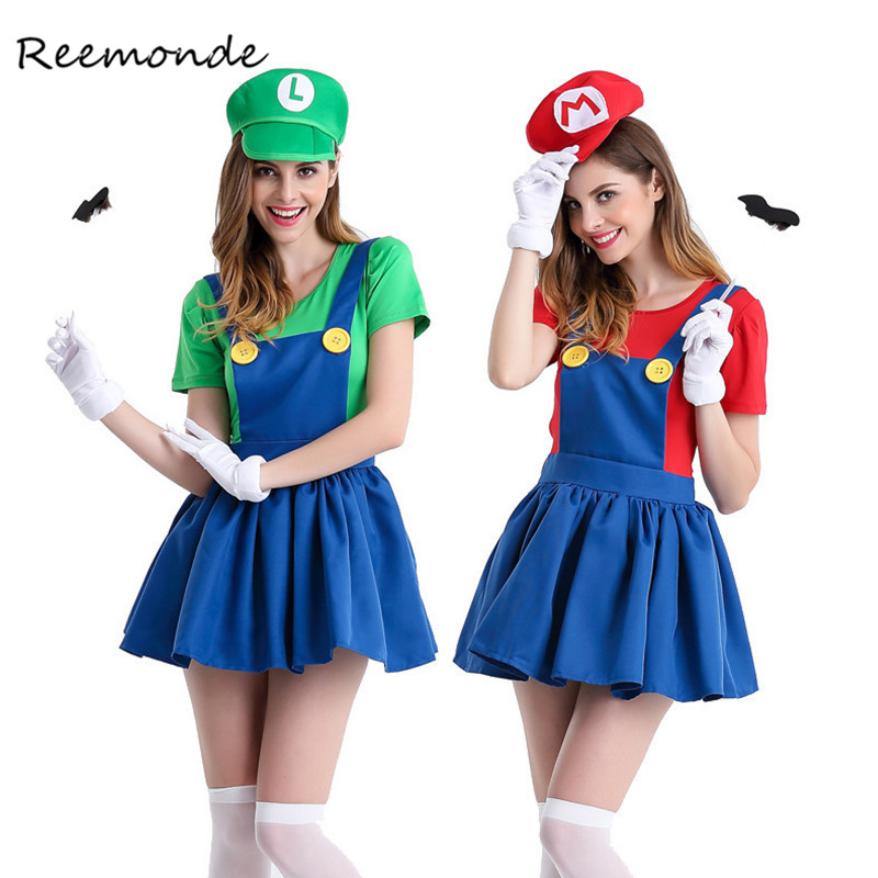 REEMONDE Adults Funy Super Mario Luigi Brothers Plumber Cosplay Costume For Women Girls Halloween Fancy Dress Party Costumes