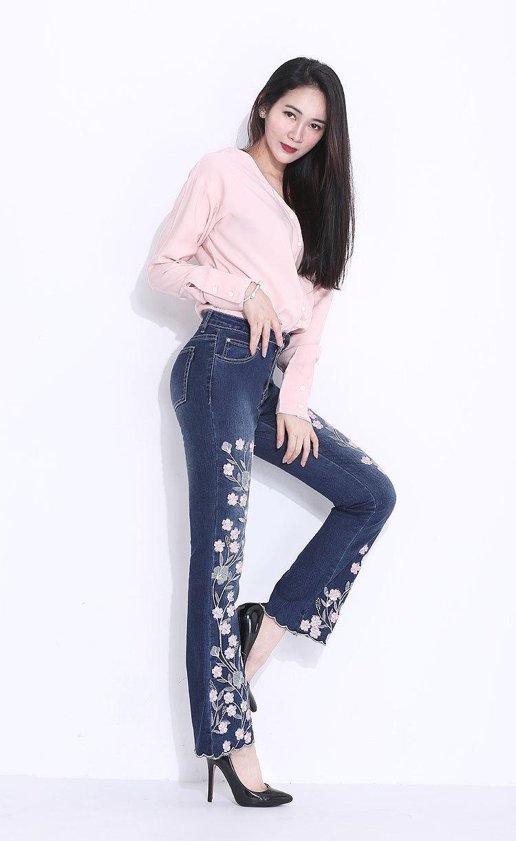 KSTUN FERZIGE Embroidered Jeans for Women 2018 Autumn Bell Bottom Flared Denim Pants Blue England Style Femme Sexy Ladies Trousers 36 13