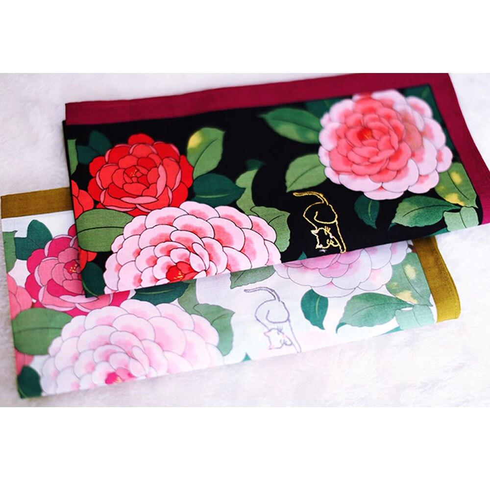 48CM*48CM Luxury Handkerchiefs Peony Flower Pattern Square Hankies Soft Thin Handkerchief Women Embroidery Cat Exquisite Gifts