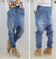 2015 New Arrival Men Jeans Low Crotch 100% Cotton Light Blue Color Fashion Baggy Hip Hop Jeans Ripped Harem Jeans Size M-3XL