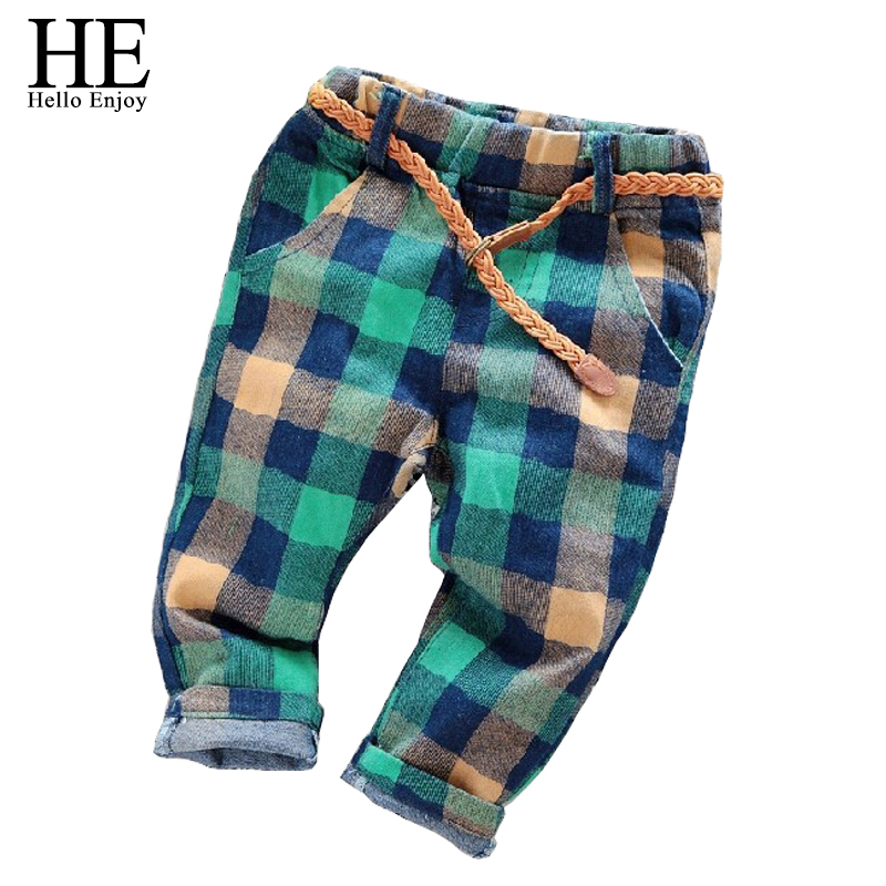 HE Hello Enjoy kids pants boys pants 2017 casual spring autumn boys pants plaid Kids jeans + belt children trousers for girls
