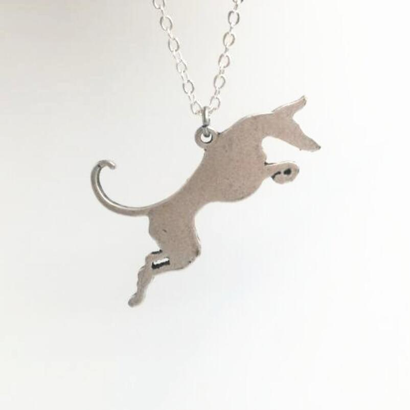 Greyhound Running Dogs Pendants animals Pendant & Necklaces Women Grey hound Silver Handmade Pet Memorial Fashion Collar Jewelry