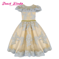 Real Colorful Cute Champange Flower Girls Dresses Lace Appliques Pearls Bow Toddler Cupcakes A line Little Kids Pageant Dresses