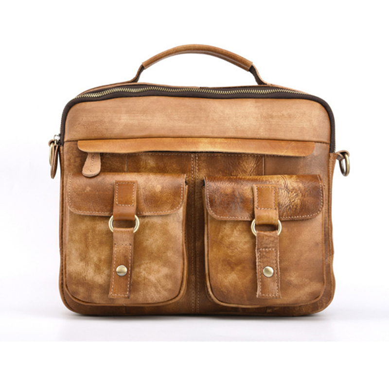 Men Business Shoulder Cross Body Messenger Bags Real Cowhide Retro Genuine Tanned Leather Tote Handbag Briefcase Top-Handle Bag real genuine leather women single shoulder bag small cross body satchel ladies messenger bags famous brand cowhide tote handbag