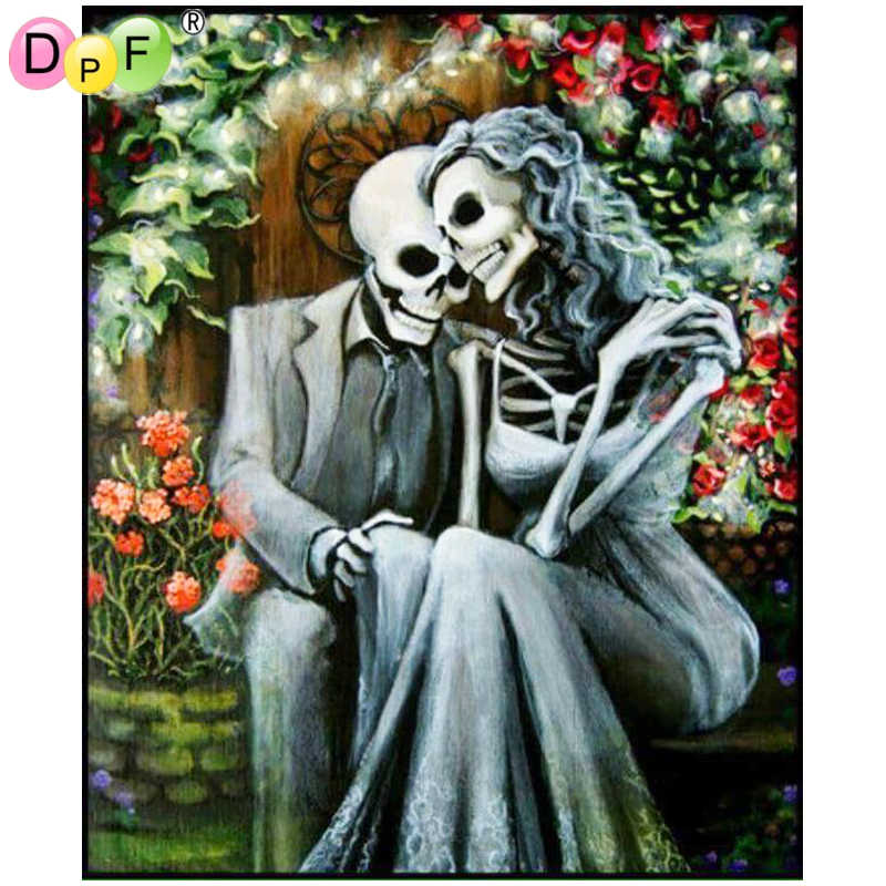Round 5D DIY Diamond-Painting Skull Couple Embroidery Decor Gifts and Beauty