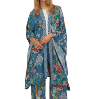 Autumn 2018 casual printing womens clothing blue womens tops and blouses long cardigan kimono loose shirt women