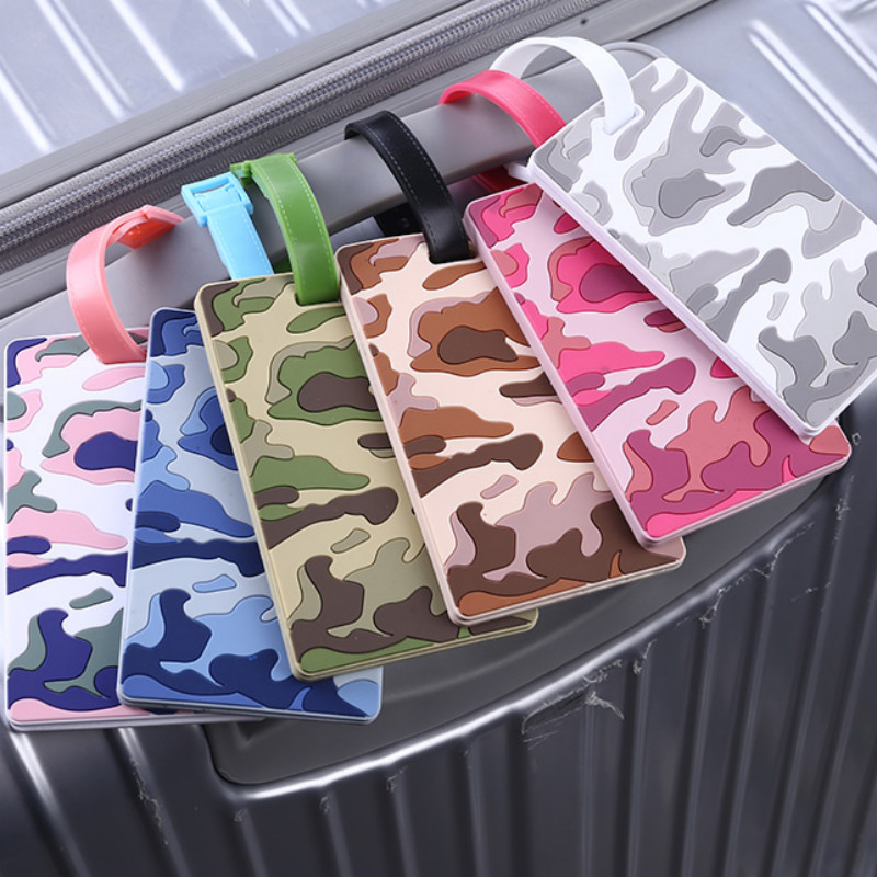 Camouflage Color Silica Gel Luggage Tag Travel ID Addres Holder Label Straps Suitcase Luggage Tags
