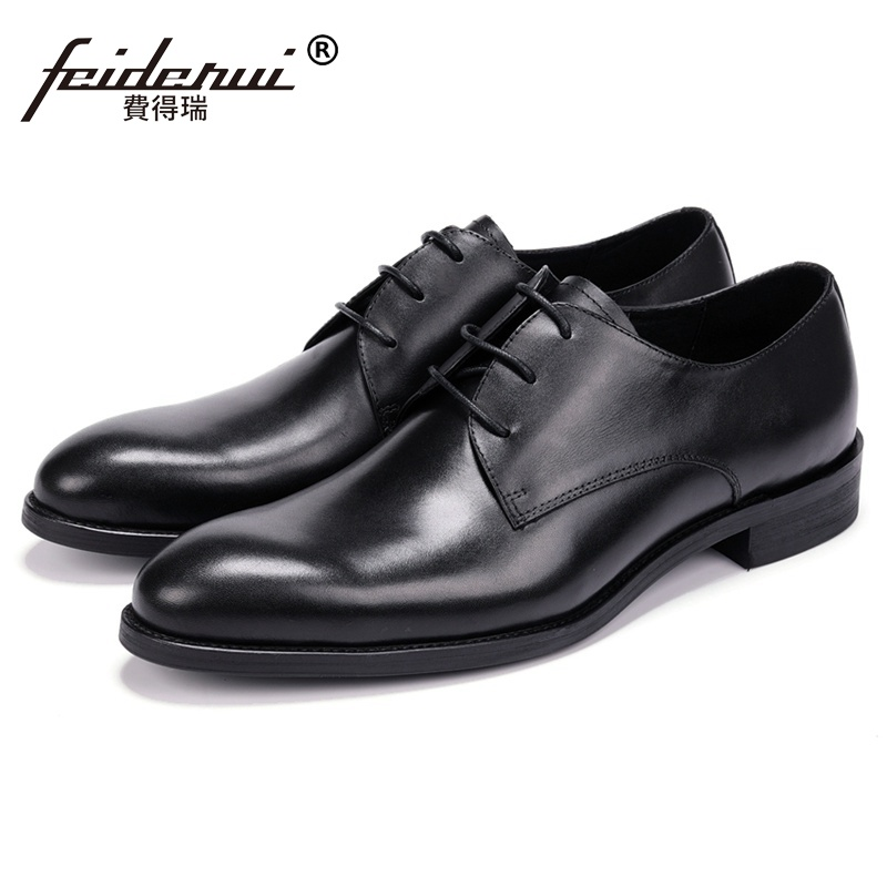 New Arrival Man Handmade Derby Wedding Business Shoes Genuine Leather Round Toe Men's Formal Dress Party Office Footwear JS178