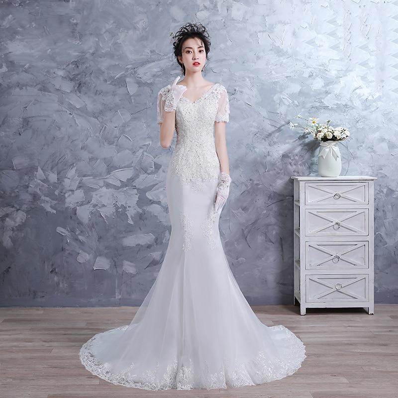 Sheath Wedding Dresses 2019 Elegent Floor Length Lace