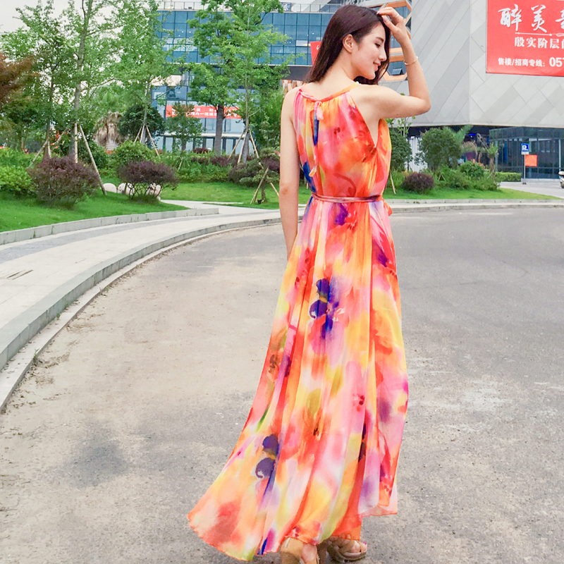 6bfa14becc063 New fashion summer chiffon floral print dresses women elegant sleeveless  slim long maxi dresses plus size