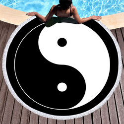 Tai Chi Round Beach Towel for Adults Microfiber Chinese Style Summer Towel With Tassels Yin and Yang Blanket Mat