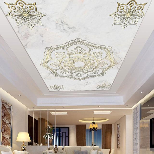 Europese Stijl Marmeren Patroon Verlaagd Plafond Muurschilderingen ...