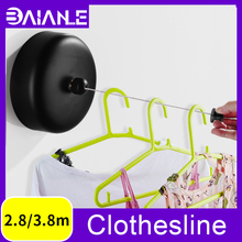 Retractable Clothesline Outdoor Laundry Hanger Dryer Organizer Stainless Steel Clothes Drying Rack Rope Wall Mounted