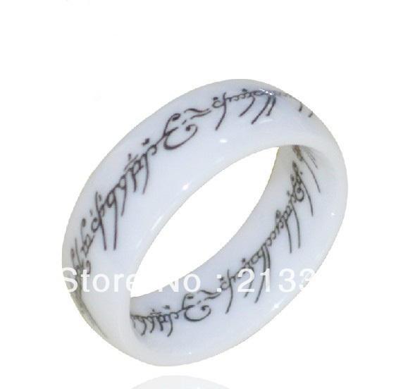 FREE SHIPPING USA HOT SELLING NEW 8MM DOME WHITE CERAMIC THE LOTR LORD OF RING CLASSIC NICE DOME WEEDING BAND RING FOR HIS/ HER