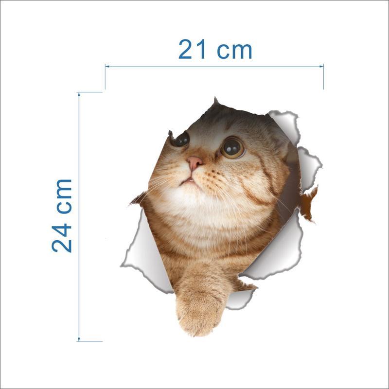 Cat 3D Bathroom Toilet Decorative Decals Stickers