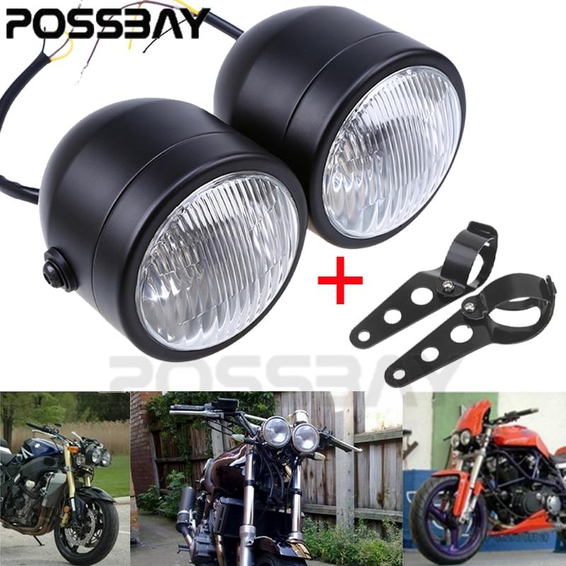 Motorcycle Headlights Dominator Headlamp w/28 - 34 mm Brackets Streetfighter Cafe Racer Light For Bobber MadAss XT600 WR450F 250
