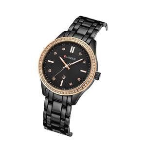 Image 3 - CURREN Hot ขาย Saat นาฬิกาผู้หญิงแฟชั่นสุภาพสตรีนาฬิกาข้อมือเหล็กเต็มรูปแบบกันน้ำสีดำ Relogio Feminino reloj mujer