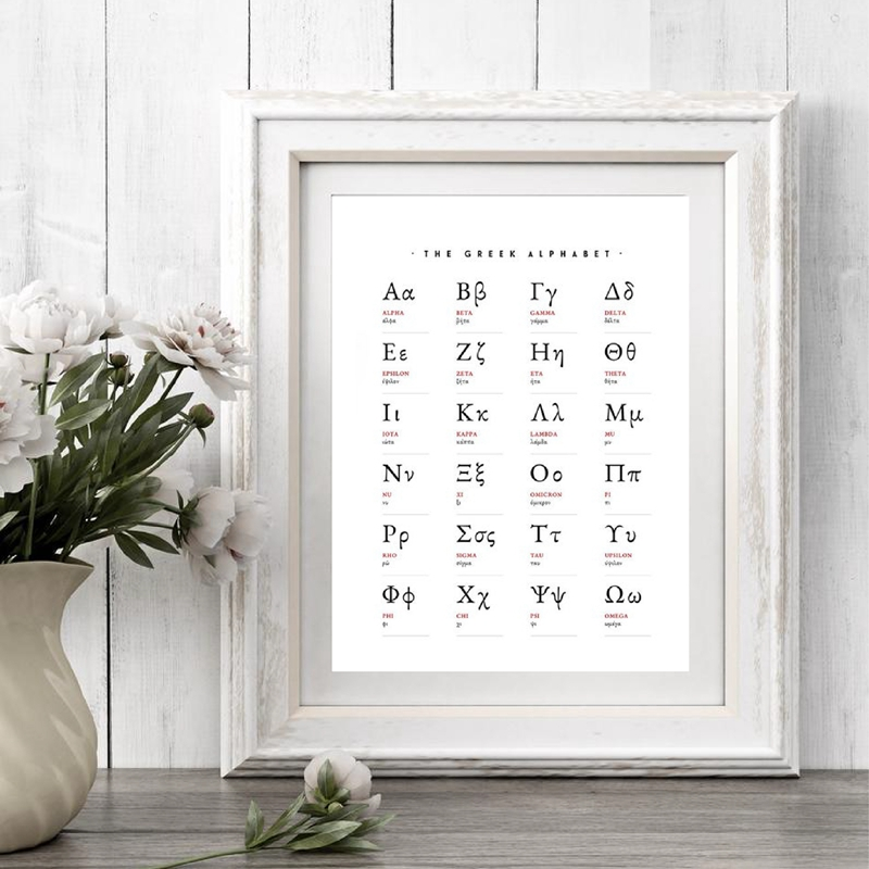 Greek Alphabet Prints Greek Letters Math Art Canvas Painting Wall Picture Mathematics Educational Poster Math Classroom Decor