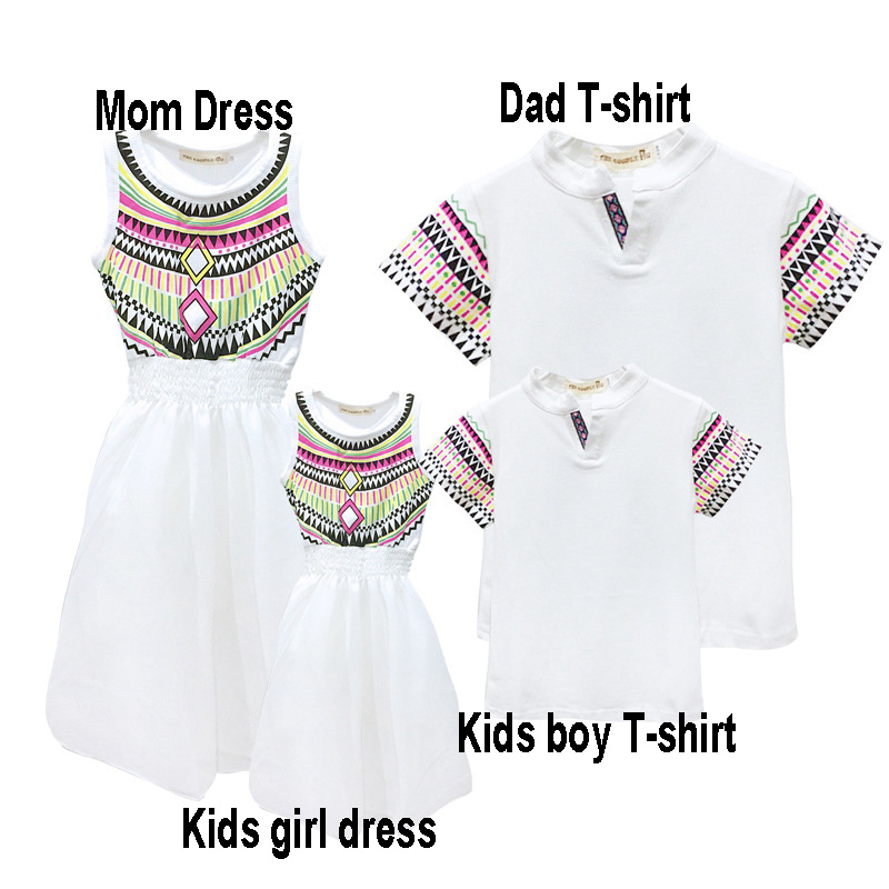 HTB1NDgSekfb uJjSsrbq6z6bVXap - Summer Family Matching Outfits Ethnic Style Mother Daughter Beach Dresses Father and Son White T-shirt Family Clothing Sets