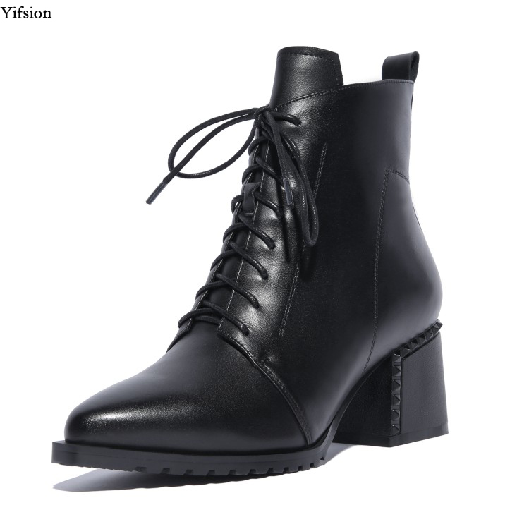 Yifsion New Women Leather Martin Ankle Boots Square High Heels Boots Pointed Toe Black Brown Daily Shoes Women Plus US Size 4-10Yifsion New Women Leather Martin Ankle Boots Square High Heels Boots Pointed Toe Black Brown Daily Shoes Women Plus US Size 4-10