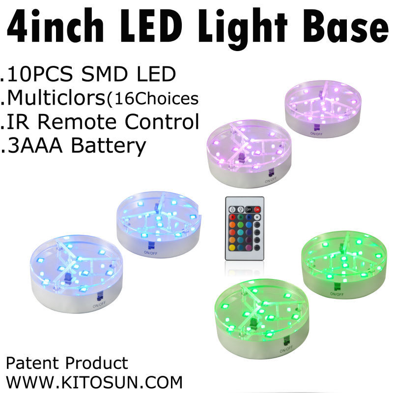 4 Inch Led Spot Light  1pc/lot Centerpiece Lighting 4inch LED Light Base 3AA Battery Operated 9 RGB  LED Light For Under Vase